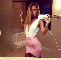 pink skirt + low cut top