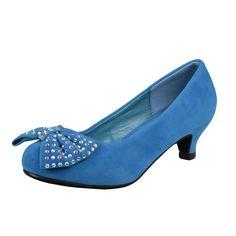 Kids Dress Shoes Studs Accented Bow Suede Dress Pumps Light Blue Girls Dress Sandals, Toddler Girl Dress Shoes, Kids Dress Shoes, Kitten Heel Pumps, Peep Toe Heels, Shoes Heels, Flats, 1950s Fashion Shoes, 1950s Shoes