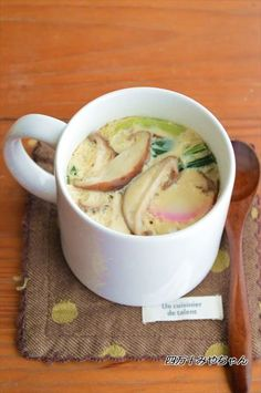 マグカップ一つで「茶碗蒸し」洗い物は、マグカップのみ!作り方も、電子レンジで簡単に出来ちゃうんですよ~蒸し器なんかも要りません!!味付けも「めんつゆ」だけなので とっても簡単♪♪手軽に 1人分ずつ作れるので「茶碗蒸しが 食べた~い」と思ったら すぐに作れます