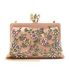 Valentino / Glam Flower Satin Clutch with Embellishment