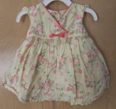 First Impressions Baby Girl Dress 3-6M Yellow Cotton Pink Flowers Lined Ribbon #FirstImpressions #DressyHolidayWedding