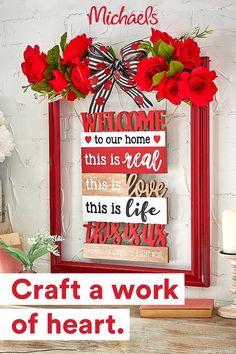 Valentines Day Decorations, Valentine Day Crafts, Love Valentines, Holiday Crafts, Christmas Crafts, Valentine Wreath, Crafts To Make, Diy Crafts, Frame Crafts