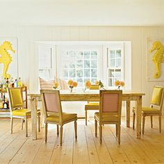 Decorating with Color | How to Use Yellow | CoastalLiving.com How to Use Yellow  1. Add cheerful accents.  Hits of bright yellow are like seratonin supplements for a room—a little goes a long way. A few fun accents, such as leather dining chair upholstery, large-scale graphic artwork, and stems in a similar shade, are all it takes to cast a happy mood throughout your space.