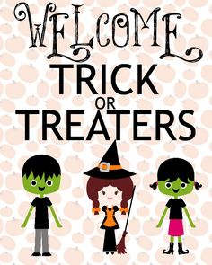 31 Days of Halloween: Free Halloween Printables: Welcome Trick or Treaters