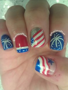 Fireworks, flag. Red white and blue, 4th of July nails