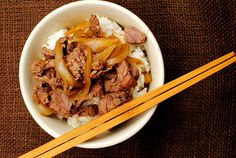 Copycat Yoshinoya Beef Bowls taste just like the popular fast food beef bowl recipe, Gyudon, from Japan!