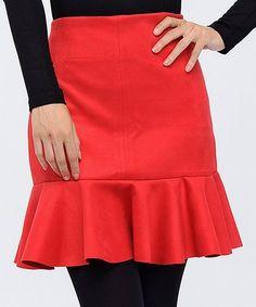 New Laviva Red Trumpet Skirt - Women Trumpet Skirt, Holiday Party Dresses, Lycra Spandex, Skirts, Cotton, Red, Women, Fashion, Moda