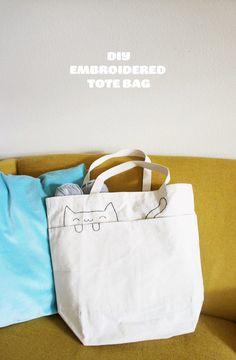 DIY Embroidered Cat Tote Bag #craft