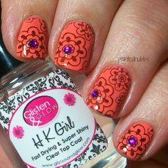 Painted Nubbs: LA Colors Bloom and bm 321 Funky Nails, Love Nails, Trendy Nails, Henna Nail Art, Henna Nails, Fancy Nail Art, Cool Nail Art, Crazy Nail Designs, Stamping Nail Art