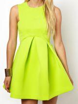 Lime Punch Green Round Neck Sleeveless Ruffle A Line Dress