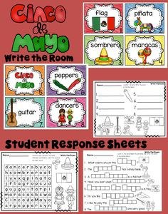 Cinco de Mayo Write the Room activities with differentiated student response sheets! Get the kids up and moving!
