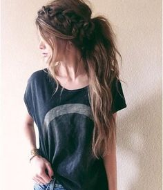 Messy Ponytail with Braid Crow for long brown hair, simple pretty look