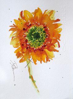 Sunflower Watercolor Sketch by RedbirdCottageArt on Etsy,