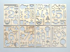 Wooden Numbered Stencil Set- 24 different stencils laser cut into 1.5mm wood. The stencils feature; reindeers, trees, lions, pencils, squirrels, dominoes, arrows, parrots, boats, buildings, globes, ice creams & LOADS MORE.