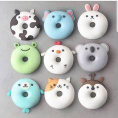 YES OR NO?? 🐱🐄🐸🦌🐰🐨🐔donuts by @naturally.jo Its so cute and original!!!!! #donut #donuts #animal #chiken #pets #kawaii #panda #reindeer…