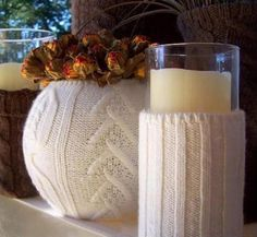 Upcycled Sweater Christmas Decoration — by Stephanie Lynn, shows you how to dress up a candle and vase with a pretty sleeve.