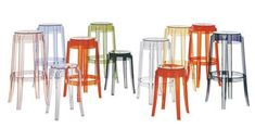The charles ghost stool designed by Philippe Starck for kartell, has a polycarbonate structure making it virtually indestructible. With rounded and slightly upturned legs, the charles ghost is an icon of the classic high stool and looks elegant wheth Philippe Starck, Outdoor Bar Stools, Modern Bar Stools, Outdoor Bars, Kartell, Counter Bar Stools, Kitchen Stools, High Stool, Low Stool