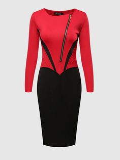 Charming Patchwork Bodycon Dress With Zip