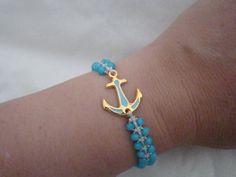 Blue anchor bracelet nautical gold charm friendship summer bracelet marine women's jewelry vacation jewelry for her beach wedding theme gift Greek Jewelry, Jewelry For Her, Women's Jewelry, Photo Jewelry, Unique Jewelry, Nautical Bracelet, Turquoise Bracelet, Evil Eye Bracelet, Bracelet Set