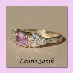 Light Pink Sapphire and Diamond Ring in 14kt by LaurieSarahDesigns