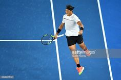 Rafael Nadal of Spain celebrates winning a point in his quarterfinal match against Milos Raonic of Canada on day 10 of the 2017 Australian Open at...