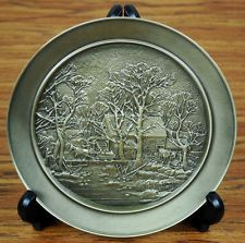Vintage 1977 Currier and Ives The Old Grist Mill Pewter Plate
