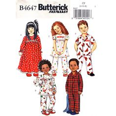 Boys and Girls Easy Pajamas Nightgown Pattern Butterick 4647 Childrens Size 4 5 6 UNCUT - product images  of