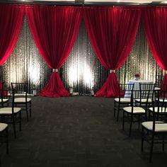Wedding Diy Backdrop Receptions 62 Ideas For 2019 – - Wedding Reception Ideas Diy Reception Decorations, Wedding Reception Backdrop, Wedding Stage, Decoration Table, Red Wedding, Event Decor, Wedding Centerpieces, Wedding Draping, Wedding Backdrops
