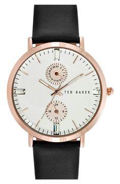 1ea47b51a30aa Ted Baker London  Dress Sport  Multifunction Leather Strap Watch