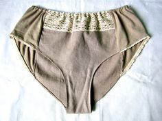 Beige organic cotton and linen panties with by CottonCloudStore