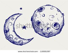 Illustration of Moon and lunar craters. Doodle style vector art, clipart and stock vectors. Tattoo Mond, Planet Tattoo, Logo Inspiration, Moon Sketches, Luna Tattoo, Moon Cartoon, Minimal Art, Moon Drawing, Doodles