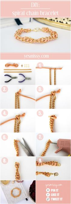 DIY Spiral Chain & Suede DIY Bracelet Tutorial from Yes Missy (has link to where this blogger guest posted her full tutorial also)
