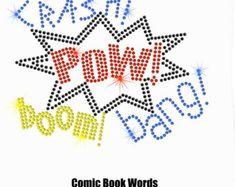 """8"""" iron op Strass overdracht Comic Book zeepbel woorden POW DIY stoffen"""