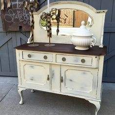 Vintage Buffet/Dresser with Mirror, Upcycled, Antique from Julies Box for $375.00