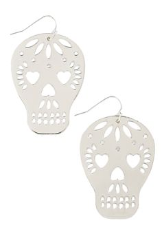 Too Close to Skull Earrings in Silver. #modcloth