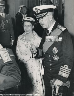 Queen Elizabeth II with King Gustav Adolf (Sweden, June 16 1956)