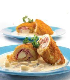 ¿Qué le parece unos rollos de pollo en salsa de hongos para  el almuerzo?