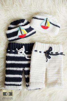 Twin Sailor Set, Newborn Summer Set, Anchor Hat, Sailor Pants, Baby Sailor Suit, Crochet Sailor Hat, Baby Crochet Pants, Newborn Prop