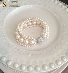 Complement your #wedding attire with this #elegant #pearl #bracelet.