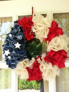 burlap and denim wreath we made for the 4th of July