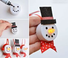 How to make tea light snowmen These tea light snowman ornaments are really easy to make and they look ADORABLE! You can buy most of the materials from the dollar store, so it's a great inexpensive craft project. Switch up the colours to add even more personality to your snowman family!: