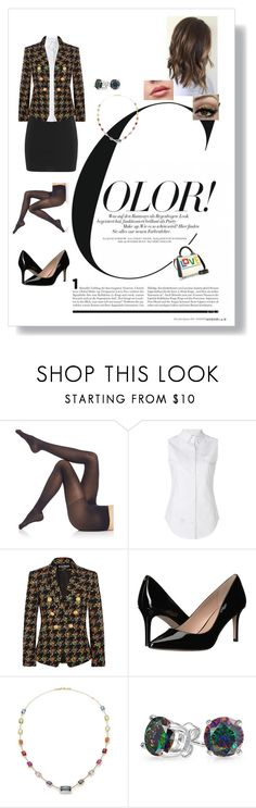 """""""A Little Color Goes A Long Way"""" by hetaliaforever5 ❤ liked on Polyvore featuring Falke, Thom Browne, Balmain, BCBGeneration, Ippolita and Bling Jewelry"""