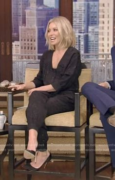 e6cdf87123d7 Kelly s black button front jumpsuit on Live with Kelly and Ryan