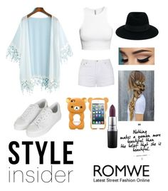 """Kimono outfit!! http://www.polyvore.com/white_kimono_with_romwe_contest/contest.show?id=606144"" by bts4ever02 ❤ liked on Polyvore featuring H&M, Topshop, Maison Michel, MAC Cosmetics and Ally Fashion"