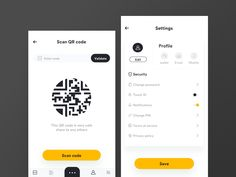 Blockchain app QR scan and setting