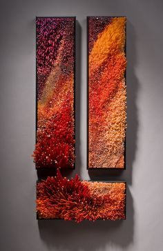 oyashio-voh - Shayna Leib - hand-blown cane glass, slumped in a kiln, cut, and placed into frame. Un-freaking-believeable work!