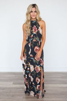 Shop our gorgeous Floral Print Halter Neck Maxi Dress in Navy. Perfect for wearing to a wedding! Free shipping on all US orders!