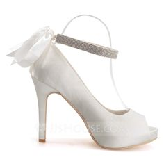 Women's Satin Stiletto Heel Peep Toe Platform Sandals With Rhinestone Lace-up (047066877)