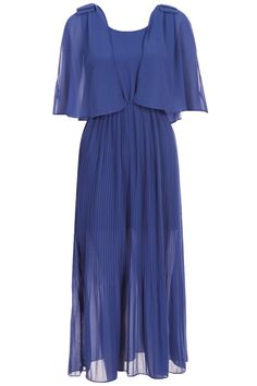 Off-shoulder Blue Pleated Dress. Description Blue dress, featuring a round neckline, unique off-shoulder design, bow embellished on both shoulders, dual-tone, pleated body, high waist with elastic styling, extra long length, solid color, lined. Fabric Chiffon. Washing Cool hand wash with similar colours, do not tumble dry. #Romwe