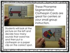 These Phoneme Segmentation Clothespin Cards are great for centers or your small group instruction. And they're great for DIBELS or AIMSWEB! Kindergarten Language Arts, Kindergarten Centers, Kindergarten Reading, Kindergarten Classroom, Guided Reading, Teaching Reading, Learning, Early Education, Special Education